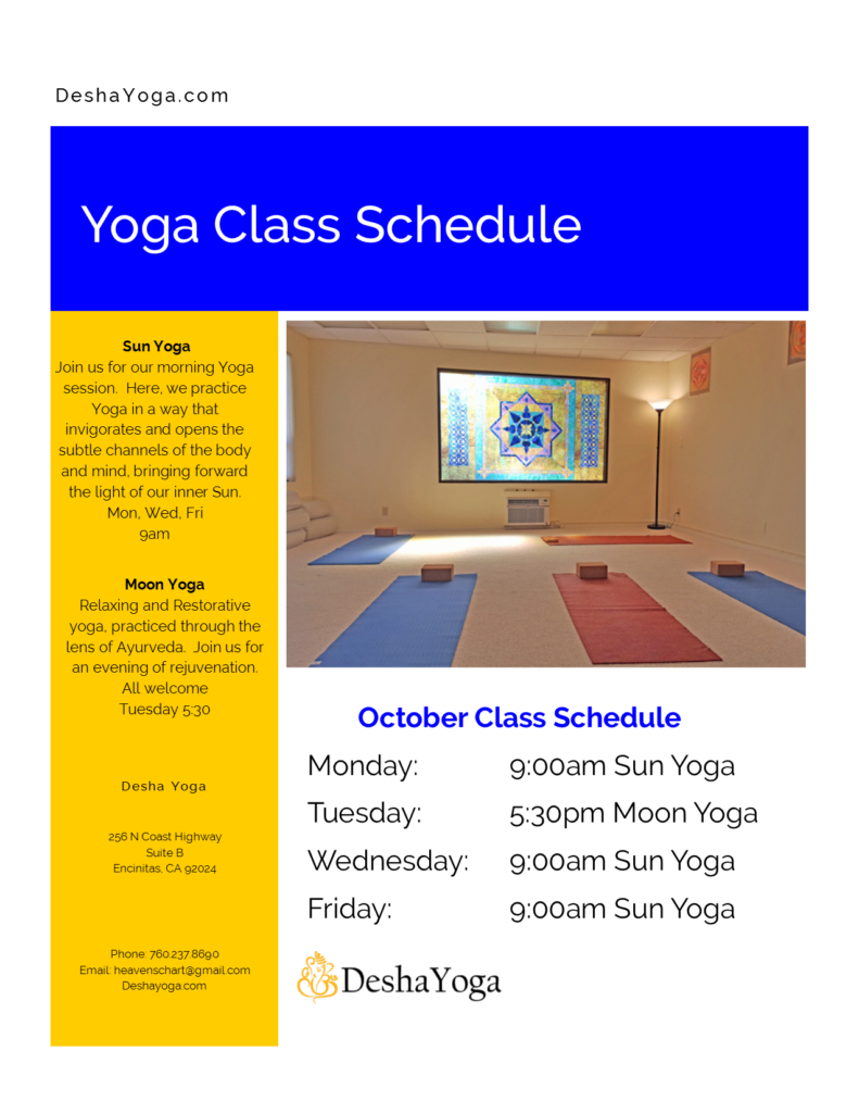 October Yoga Class Schedule